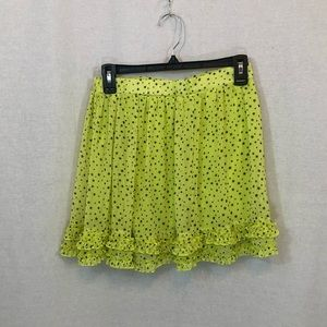GIRLS KIDS NEON YELLOW GREEN BLACK SKIRT RUFFLE